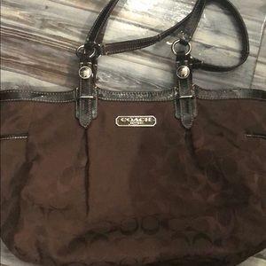 Brown signature C coach bag